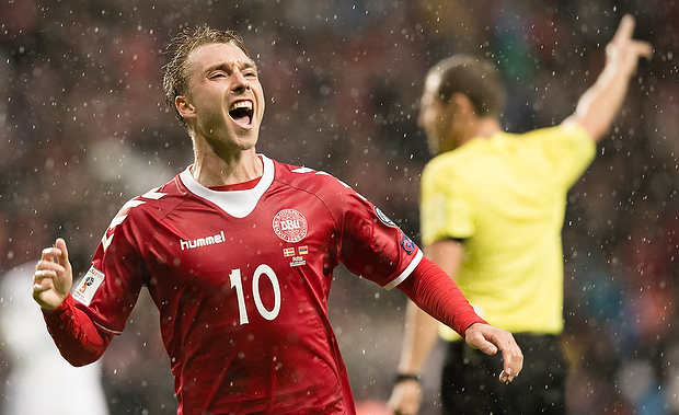 FOOTBALL: Christian Eriksen of Denmark celebrates scoring his team's first goal during the FIFA World Cup 2018 Qualifier Group E match between Denmark and Armenia at Parken Stadium on September 4, 2016 in Copenhagen, Denmark. Photo by: Claus Birch / ClausBirch.dk.