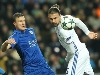 FOOTBALL: Robert Huth (Leicester City) and Erik Johansson (FC Copenhagen) in action during the UEFA Champions League Group G match between FC Copenhagen and Leicester City FC at Parken Stadium, Copenhagen, Denmark on November 2, 2016. Photo: Claus Birch