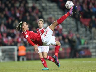 FOOTBALL: Yussuf Poulsen of Denmark with an overhead kick during the World Cup 2018 UEFA Qualifier Group E match between Denmark and Kazakhstan at Parken Stadium on November 11, 2016 in Copenhagen, Denmark. Photo by: Claus Birch / ClausBirch.dk.